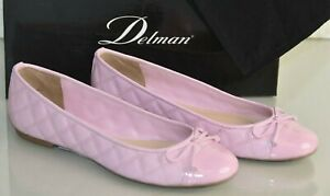 NEW Delman WILLA Flats Quilted Leather Bow Patent Cap Toe Light Pink Shoes 6