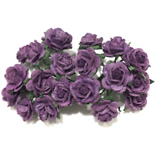 Purple Open Mulberry Paper Roses Flowers Crafts Card Making Or047