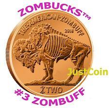 2014 ZOMBUFF COPPER BULLION ZOMBUCKS™ 1 AVDP OZ .999 FINE ROUND ZOMBIE BUFFALO