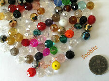 50x Faceted Crystal Glass Rondelle Beads 8x6mm - Assorted Colours