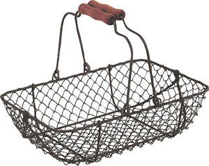 Vintage Rectangular Wire Metal Basket Rustic Brown Garden Trug Shabby Weddings