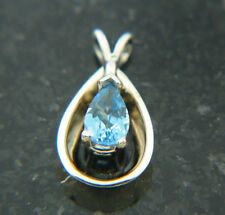6x4 Pear Cut Blue Topaz 14K TT Gold  Solitaire Blue Drop Reflecting pendant