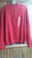 NWT Tommy Hilfiger Mens Size XL 1/4 Zip Cherry Red Pullover Sweater $79.50