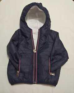 Giubbotti reversibile abbigliamento neonato blu zip cerniera taglia 0-3 anni