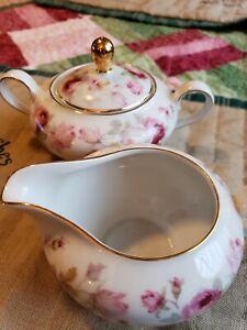 Schumann Arzberg Bavaria Germany Antique Rose Sugar & and Creamer Set