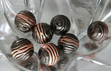 10 Round Burnished Copper Beads Texture & Colour  Round 16mm   Metalised Beads