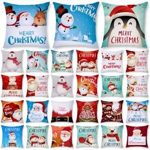 Christmas Snowman Polyester Pillow Case Bed Sofa Waist Cushion Cover Home Decor