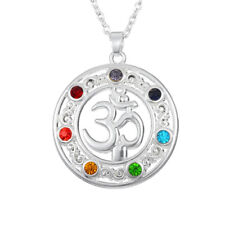 Colorful Rhinestone Yoga Aum Om Ohm Symbol Pendant Necklace Lucky Charms