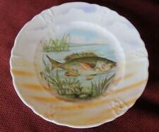 """Vintage 8"""" Salad Fish Plate with Raised Relief Lustre Ware Border"""