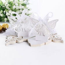 Lot of 20pcs Sweet Laser Cut Butterfly Gift Candy Boxes Wedding Favor White