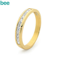 Simulated Diamond 9k 9ct Solid Yellow Gold Journey Rings Princess Glitter Stone