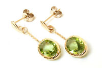 9ct Gold Oval Peridot drop dangly Earrings Gift Boxed Made in UK