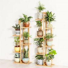 5/6 Tiers Vertically Bamboo Plant Stand Corner Flower Shelf Rack Outdoor Garden