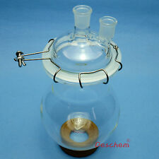 2000ml 24/29 Two Neck Glass Reactor,2 Litre Lab Reaction Flask W/Lid and Clamp