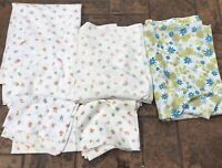 (3) Vtg 70s Twin Flat Sheets DAISY Blue Green + Floral + (2) Pillowcases
