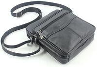 Fashion Men's Genuine leather Messenger bag Small shoulder bag Cross body black