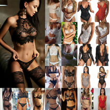 Womens Lace Sexy-Lingerie Nightwear Babydoll Bodysuit Underwear G-string Bra Set