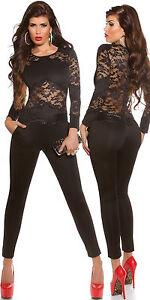 Sexy Overall mit Spitze  Jumpsuit Catsuits ! Größe S M L- 36 38 40 sexy einblick