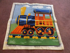 "Needlepoint Sampler Complete Ready to Frame 15.5 x 15.5"" Finished Area TRAIN"