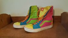 Vtg '80s Vans Off The Wall Neon Rainbow Multi-Color High Top Shoes Women's 8.5