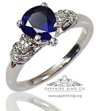 GIA Certified 14kt W/Gold 1.73 tcw Blue Pear Cut Natural Sapphire & Diamond Ring