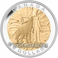 Canada 2014 Seven Sacred Teachings 6 Humility, Wolf $20 Gold Plated Silver Proof