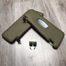Mercedes Earlier W123 Set of Left and Right Side + Clips Sun Visors Green Moss