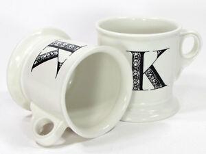 Anthropologie MONOGRAM - K 14oz White Shaving Style Mug Set Black Letter Initial