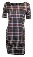 Ex Dorothy Perkins Black Burgundy Tartan Shift Dress Size 8 10 12 14 16 18 20