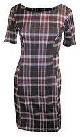 Ex Dorothy Perkins Black Burgundy Tartan Shift Dress Size 8 10 12 14 16 18 20
