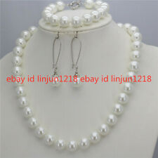 8/10/12mm South Sea Shell Pearl Round Beads Necklace Bracelet Earrings Set 18''