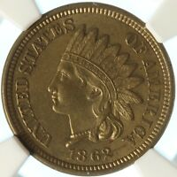1862 COPPER NICKEL INDIAN CENT, NGC MS62, TOUGH EARLY DATE, NICE TYPE COIN, HOT!