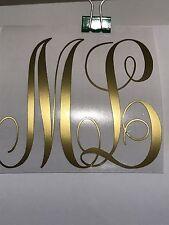 "6"" CurlyCircle Interlocking Monogram 2 Initials Car Laptop Waterbottle Decal"