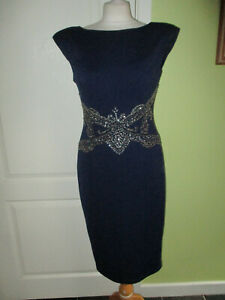 LITTLE MISTRESS SIZE 10 WOMENS SPECIAL OCCASION NAVY BLUE PENCIL DRESS