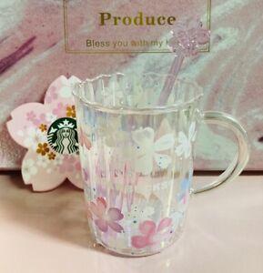 NEW Starbucks Pink Sakura Mug Glass Cup w/ Glass Cherry Blossom Stir rod Coaster