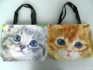 LGE REUSABLE CAT FACE  ZIPPED TOTE / SHOPPING BAGS  ( with inner zipped pocket)
