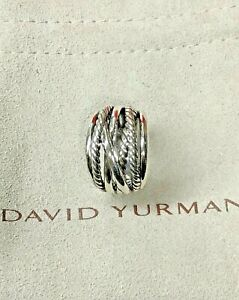 David Yurman Sterling crossover Cable wide Ring Size 7