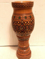 "DECORATIVE TWO PIECE 12 3/4"" SOUTH ASIAN / INDIA WOODEN VASE"