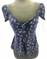 Daisy May Juniors Blue Multi Colored Floral Casual Top V Neck Size L