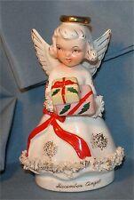 "VTG Christmas ""DECEMBER"" Birthday angel figurine japan  spaghetti trim xmas"