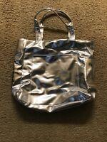 Clinique Silver Photo Leather Shoulder Bag Tote Bag Purse