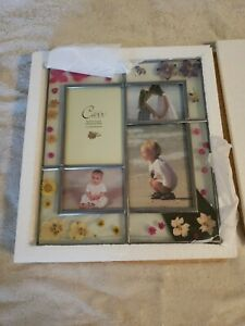 CARR Picture Frame Atrium Garden Handcrafted Pressed Floral Collage leaded glass