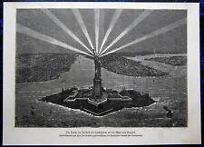 NEW YORK - Freiheitsstatue Statue of Liberty - USA. Originaler Holzstich 1875