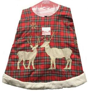 "Christmas Tree Skirt Red Tartan Plaid Deer Snowflake 56"" Fur Trim Rodeo Home"