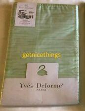 New Yves Delorme 2 Euro Shams Transparence Vert Green White Stripes Reversible