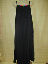 New hippy boho COLOURED Bead BLACK maxi rayon  DRESS size 12-20 (onesize)