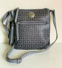 NEW! TOMMY HILFIGER GRAY PVC MESSENGER CROSSBODY SLING BAG PURSE $69 SALE