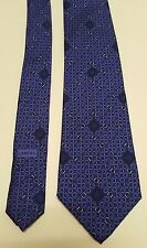 Lancel Paris Mens Blue Geometric Print 100% Silk Necktie Circles Round Diamond