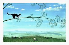 """Mark Denman signed print """" Branch too far """" cat picture with bird on branch"""