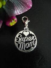 Charm Super Mom Mutter Muttertag Tochter Anhänger silber Liebe Mama Geschenk